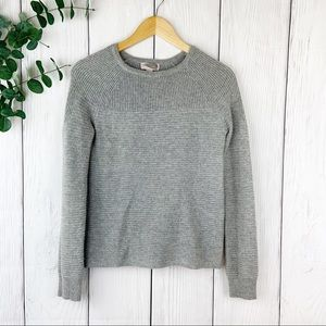 Gray Long Sleeve Fitted Sweater